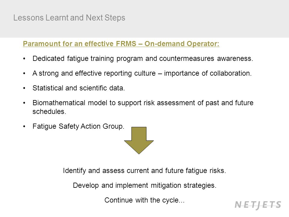 Lessons Learnt and Next Steps Paramount for an effective FRMS – On-demand Operator: Dedicated fatigue training program and countermeasures awareness.
