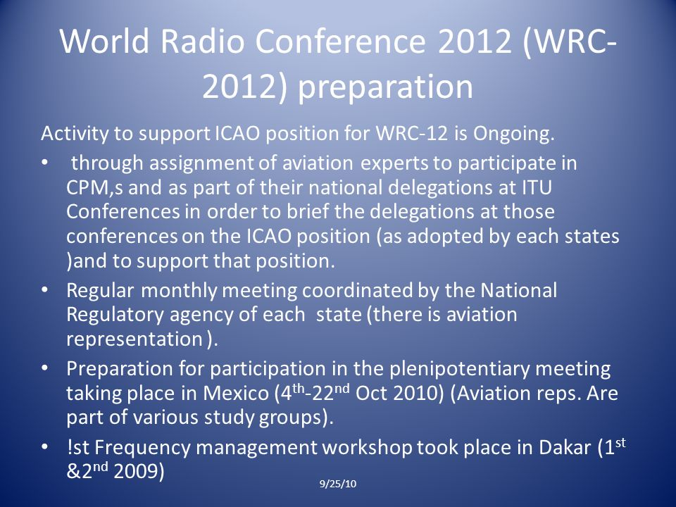 World Radio Conference 2012 (WRC- 2012) preparation Activity to support ICAO position for WRC-12 is Ongoing.