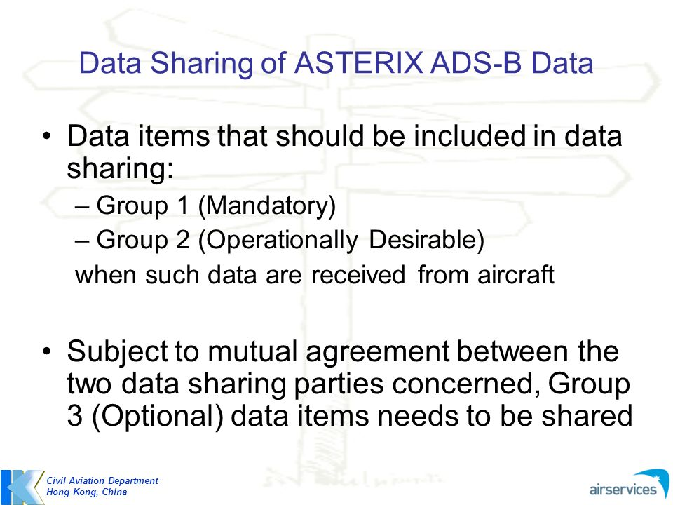 Data Sharing of ASTERIX ADS-B Data Data items that should be included in data sharing: –Group 1 (Mandatory) –Group 2 (Operationally Desirable) when su
