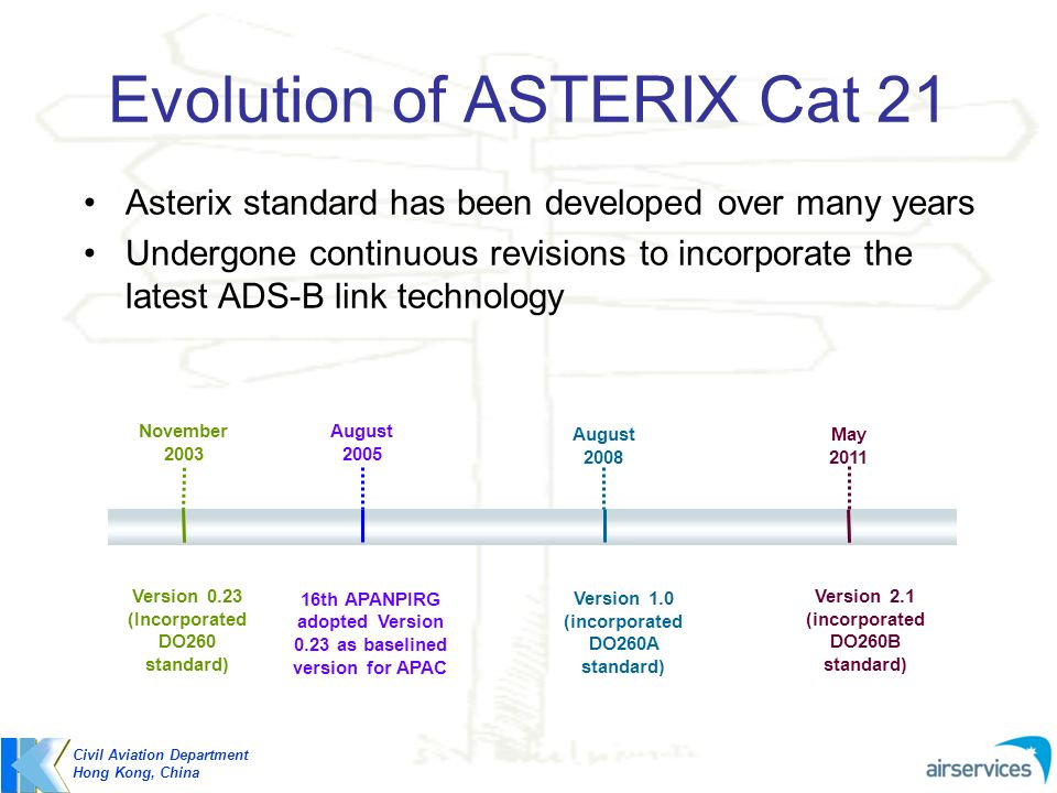 Evolution of ASTERIX Cat 21 Civil Aviation Department Hong Kong, China November 2003 August 2008 May 2011 Version 0.23 (Incorporated DO260 standard) V