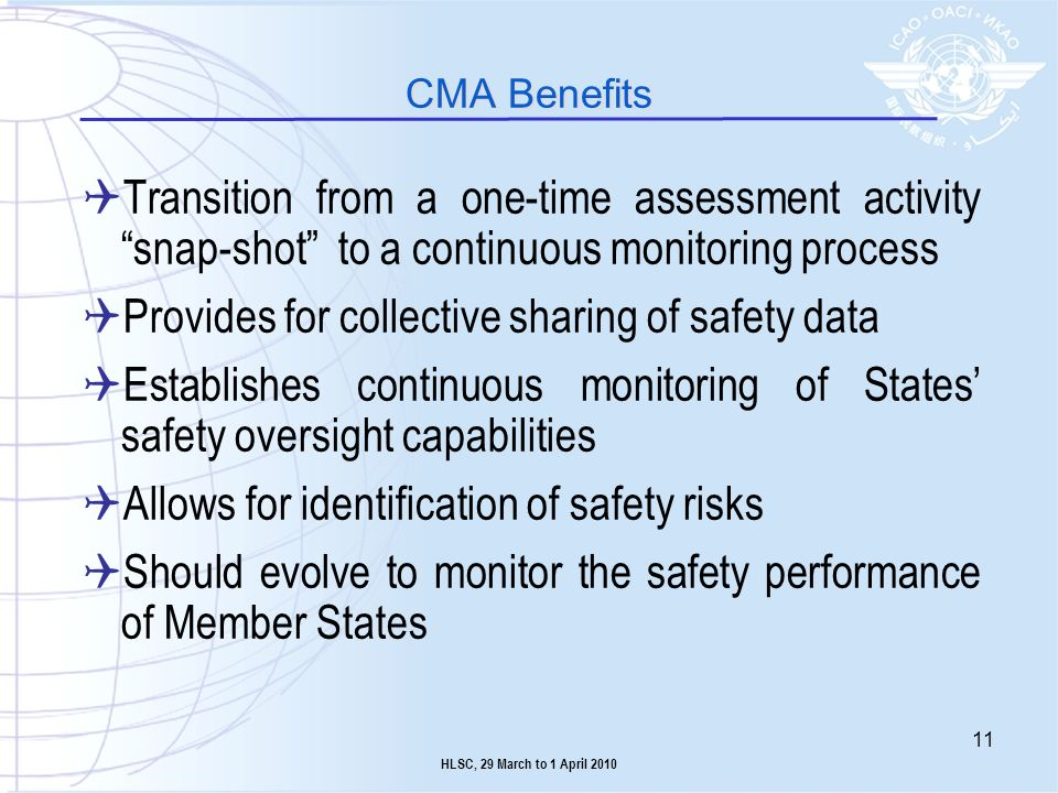 Transition from a one-time assessment activity snap-shot to a continuous monitoring process Provides for collective sharing of safety data Establishes
