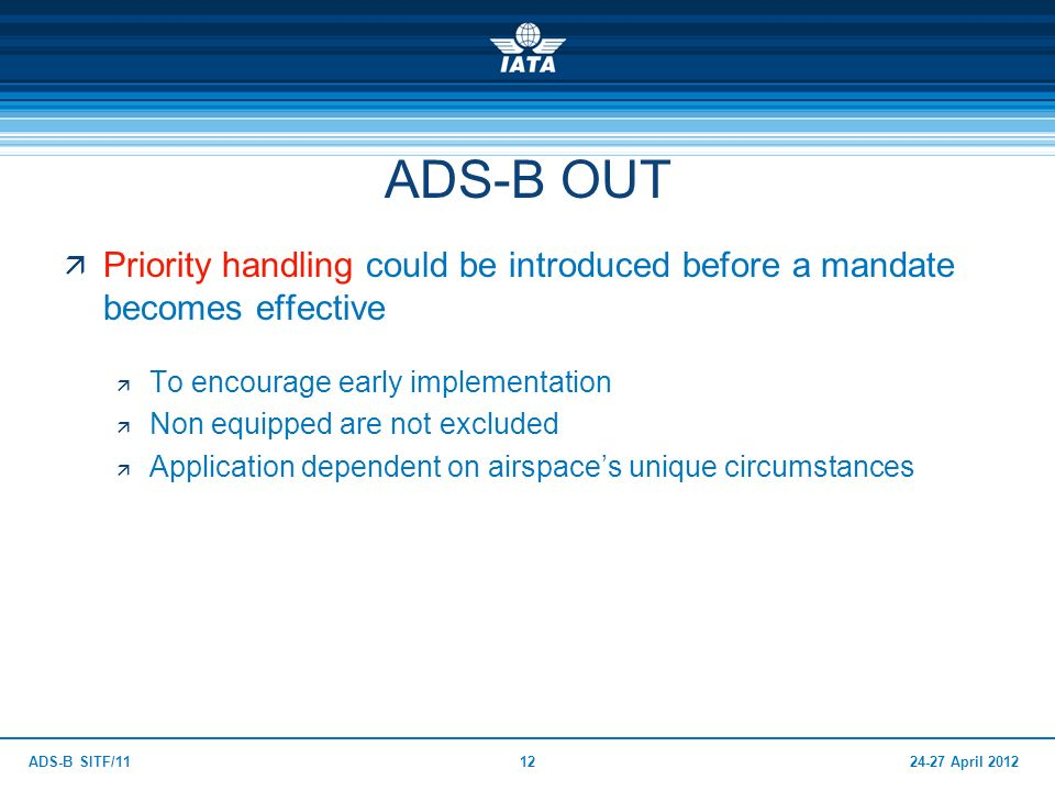 24-27 April 2012ADS-B SITF/1112 ADS-B OUT Priority handling could be introduced before a mandate becomes effective To encourage early implementation N
