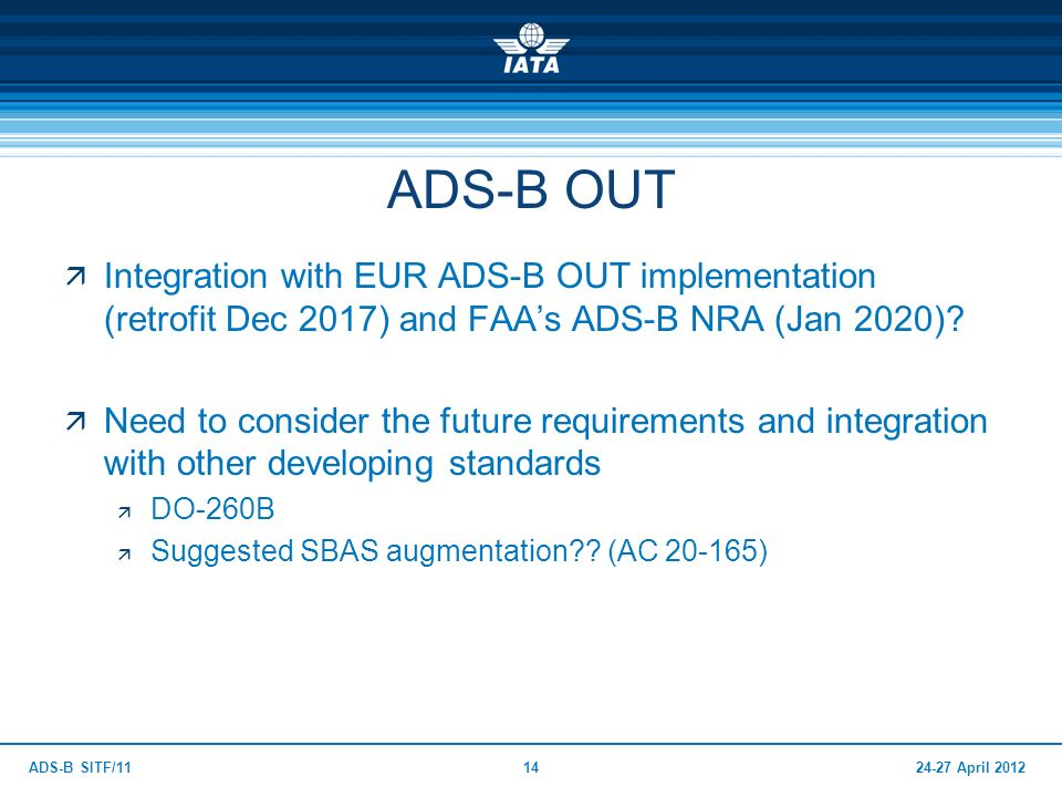 24-27 April 2012ADS-B SITF/1114 ADS-B OUT Integration with EUR ADS-B OUT implementation (retrofit Dec 2017) and FAAs ADS-B NRA (Jan 2020)? Need to con