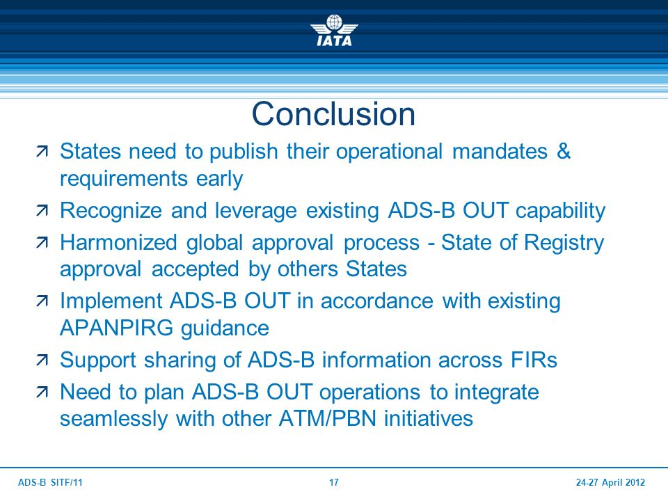 24-27 April 2012ADS-B SITF/1117 Conclusion States need to publish their operational mandates & requirements early Recognize and leverage existing ADS-
