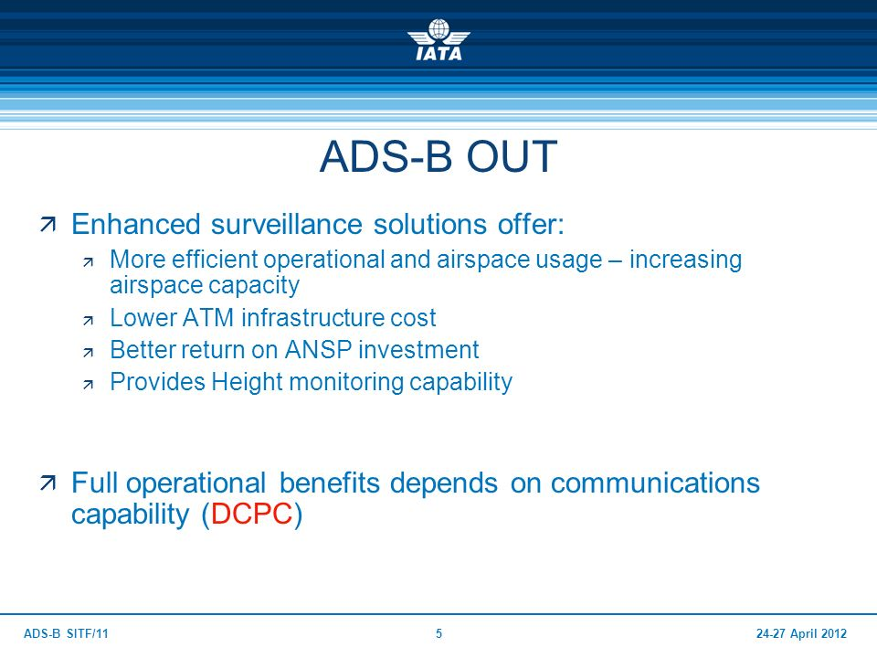 24-27 April 2012ADS-B SITF/115 Enhanced surveillance solutions offer: More efficient operational and airspace usage – increasing airspace capacity Low