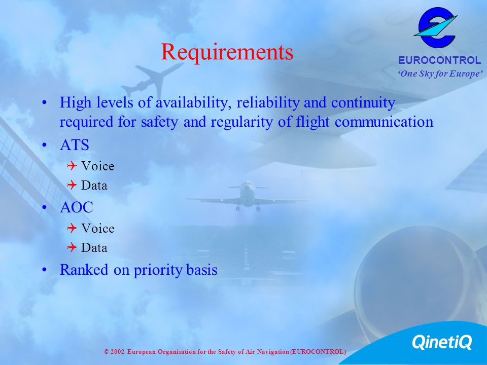 One Sky for Europe EUROCONTROL © 2002 European Organisation for the Safety of Air Navigation (EUROCONTROL) Requirements High levels of availability, r