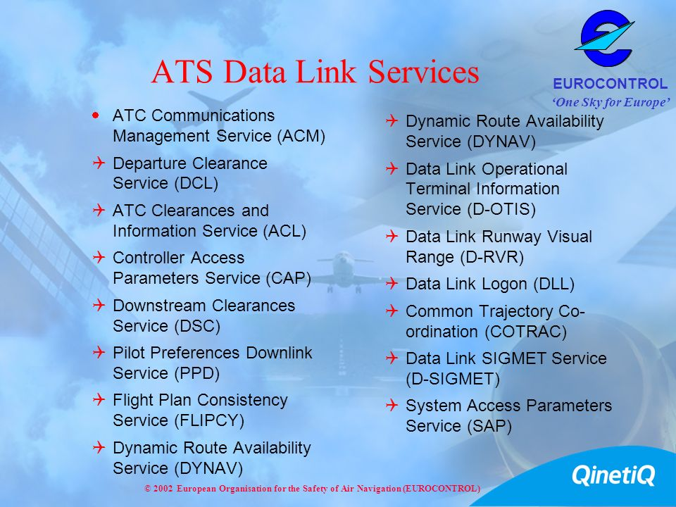 One Sky for Europe EUROCONTROL © 2002 European Organisation for the Safety of Air Navigation (EUROCONTROL) ATS Data Link Services ATC Communications M