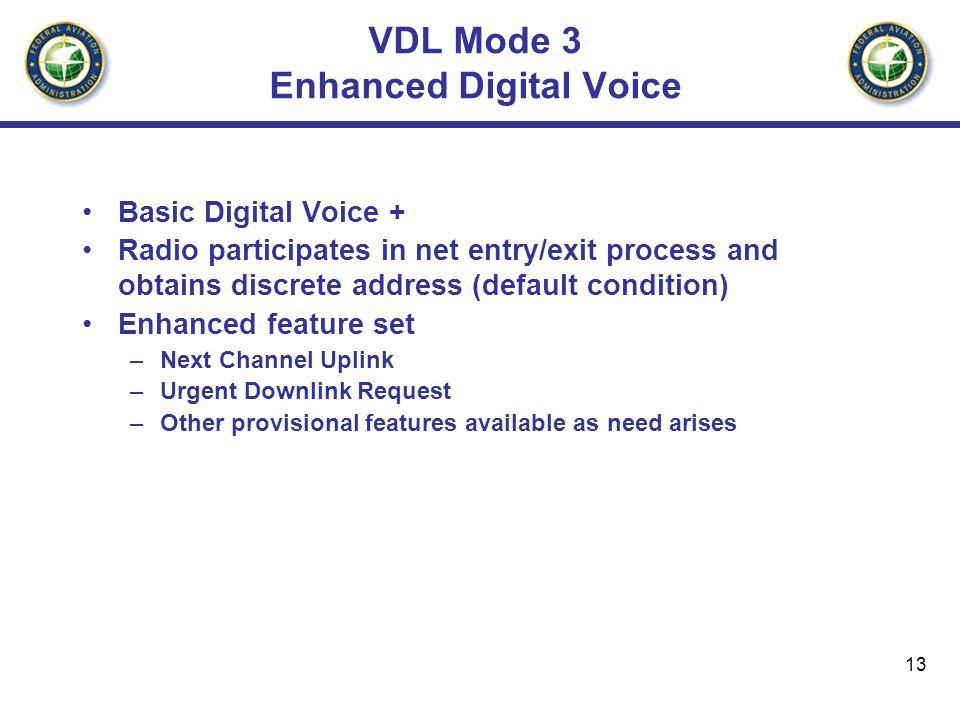 13 VDL Mode 3 Enhanced Digital Voice Basic Digital Voice + Radio participates in net entry/exit process and obtains discrete address (default conditio