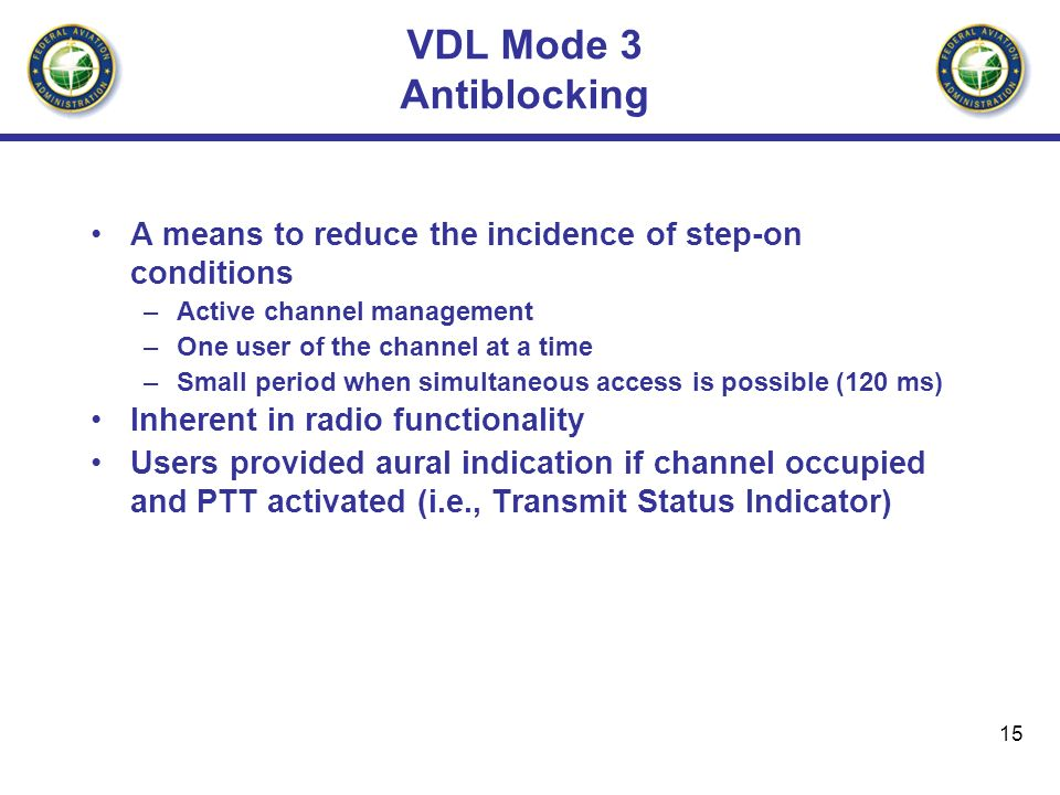 15 VDL Mode 3 Antiblocking A means to reduce the incidence of step-on conditions –Active channel management –One user of the channel at a time –Small