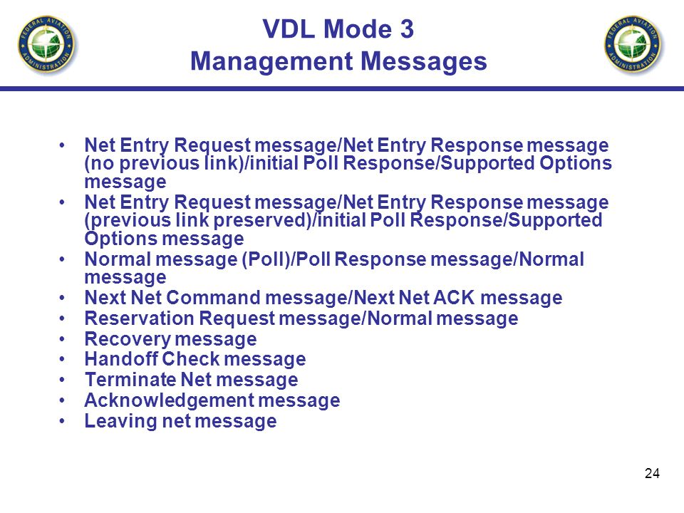 24 VDL Mode 3 Management Messages Net Entry Request message/Net Entry Response message (no previous link)/initial Poll Response/Supported Options mess