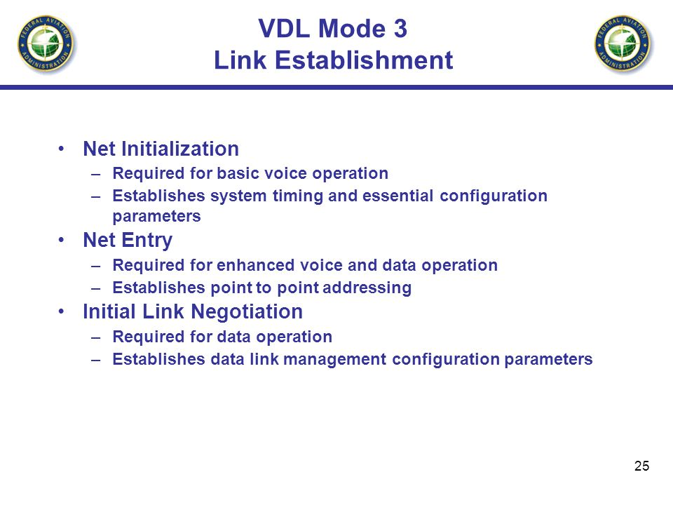 25 VDL Mode 3 Link Establishment Net Initialization –Required for basic voice operation –Establishes system timing and essential configuration paramet