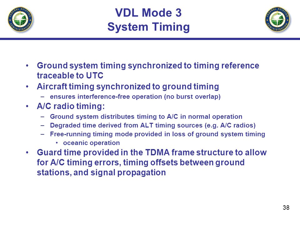 38 VDL Mode 3 System Timing Ground system timing synchronized to timing reference traceable to UTC Aircraft timing synchronized to ground timing –ensu