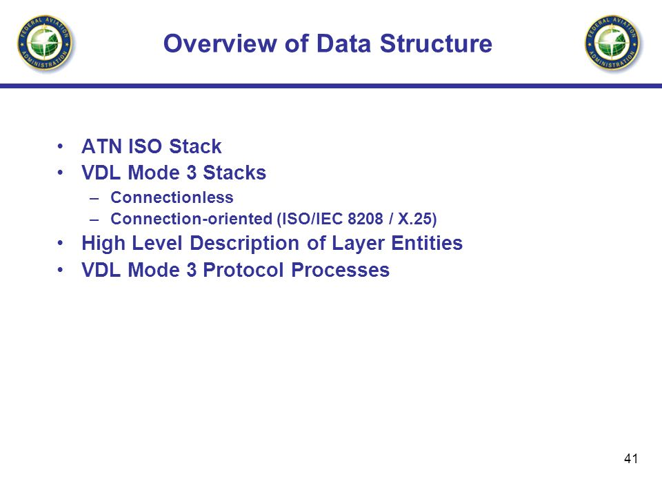 41 Overview of Data Structure ATN ISO Stack VDL Mode 3 Stacks –Connectionless –Connection-oriented (ISO/IEC 8208 / X.25) High Level Description of Lay