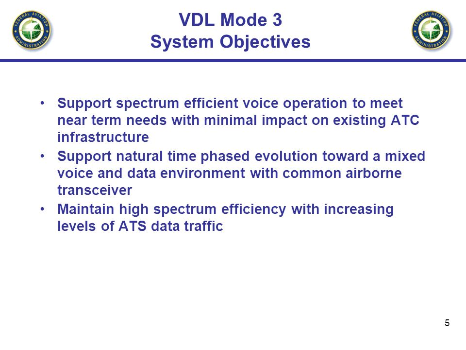 5 VDL Mode 3 System Objectives Support spectrum efficient voice operation to meet near term needs with minimal impact on existing ATC infrastructure S