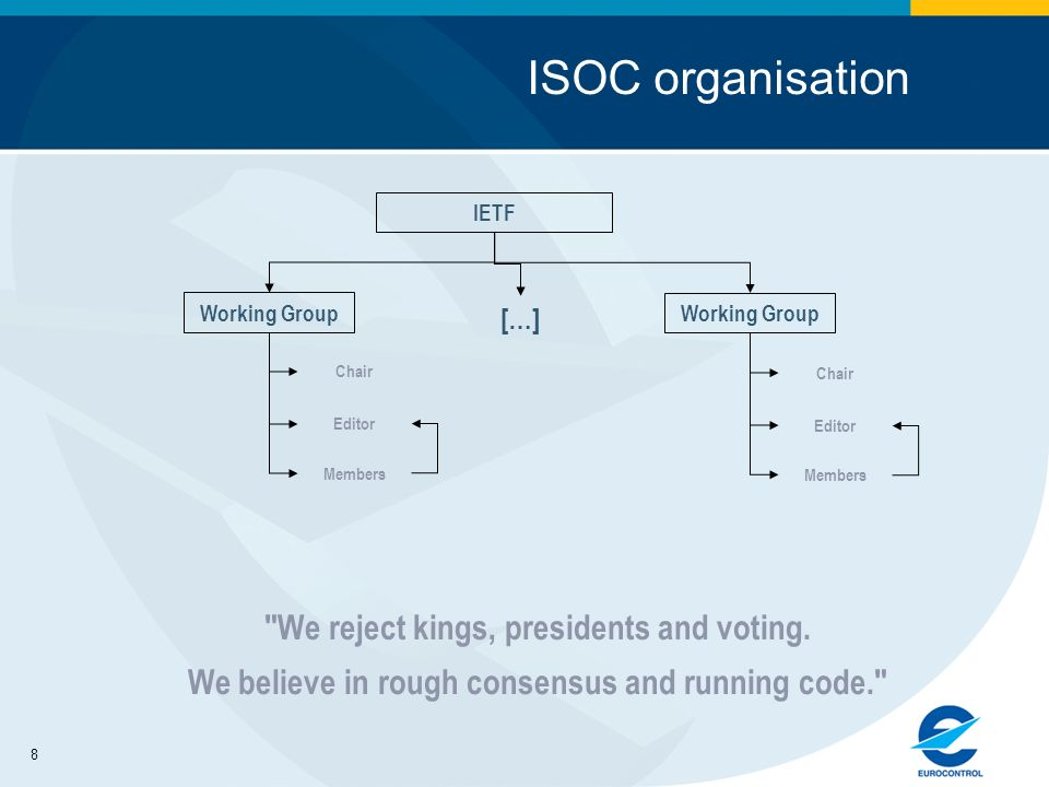 8 ISOC organisation IETF Chair Working Group Members We reject kings, presidents and voting.
