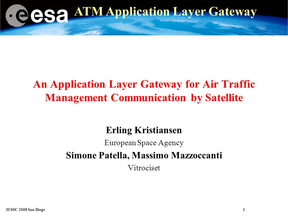 ICSSC 2008 San Diego 12 ATM Application Layer Gateway Application gateway (AGW) The AGW is an application layer message proxy The AGW intercepts messages Transports the message to the peer AGW at the other end of the satellite link The peer AGW delivers the message to the destination The AGW can re-order and discard traffic selectively