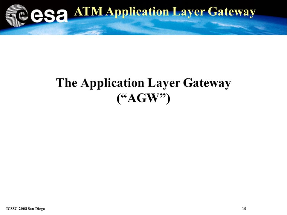 ICSSC 2008 San Diego 10 ATM Application Layer Gateway The Application Layer Gateway (AGW)