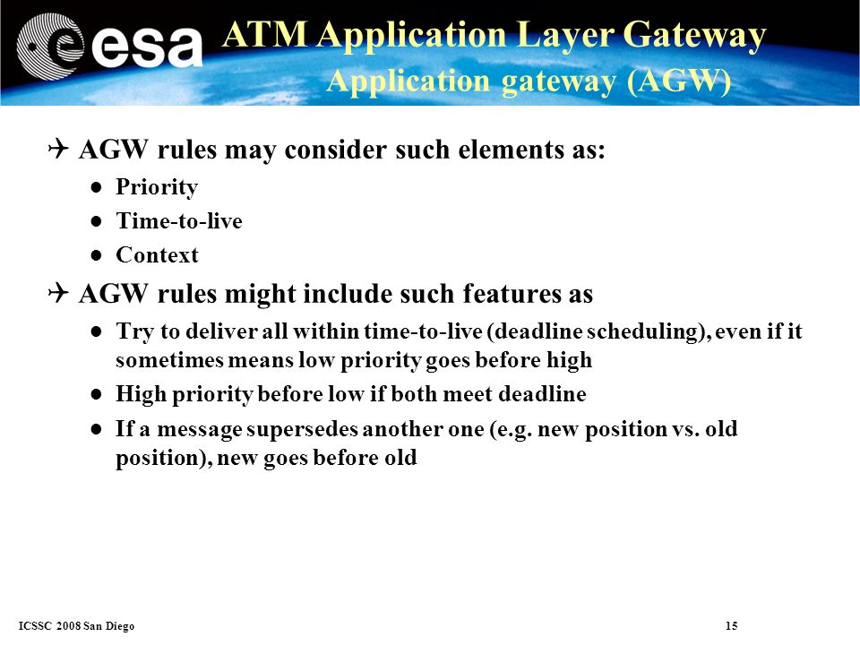 ICSSC 2008 San Diego 15 ATM Application Layer Gateway Application gateway (AGW) AGW rules may consider such elements as: Priority Time-to-live Context AGW rules might include such features as Try to deliver all within time-to-live (deadline scheduling), even if it sometimes means low priority goes before high High priority before low if both meet deadline If a message supersedes another one (e.g.