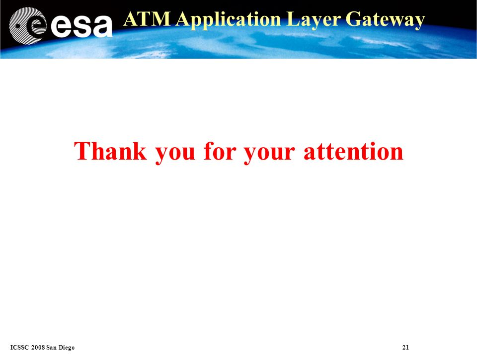 ICSSC 2008 San Diego 21 ATM Application Layer Gateway Thank you for your attention