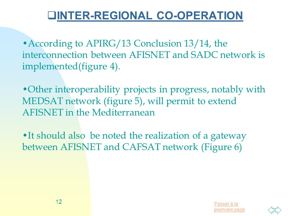 Passer à la première page 12 INTER-REGIONAL CO-OPERATION According to APIRG/13 Conclusion 13/14, the interconnection between AFISNET and SADC network