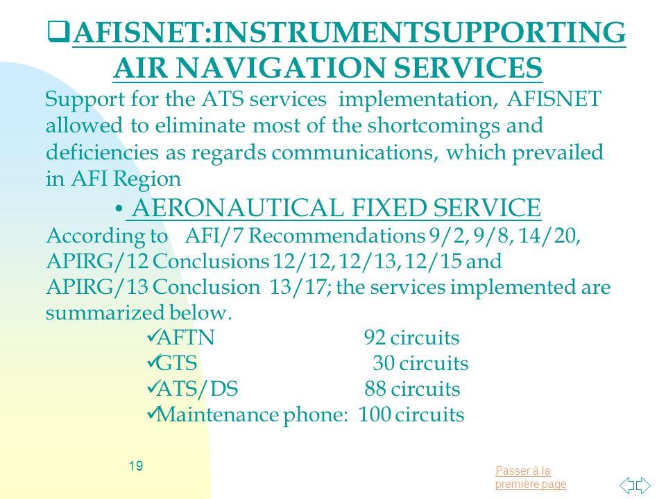 Passer à la première page 19 AFISNET:INSTRUMENTSUPPORTING AIR NAVIGATION SERVICES Support for the ATS services implementation, AFISNET allowed to elim