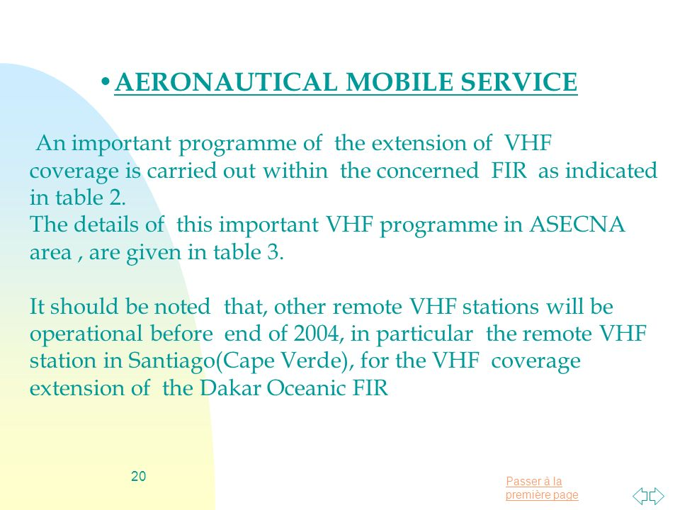 Passer à la première page 20 AERONAUTICAL MOBILE SERVICE An important programme of the extension of VHF coverage is carried out within the concerned F