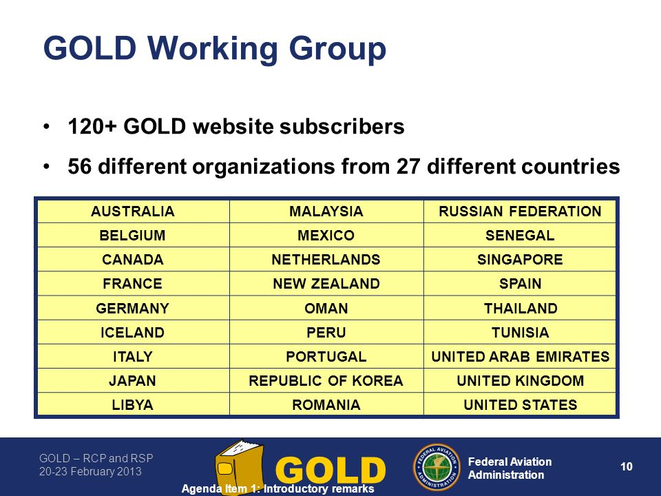 GOLD – RCP and RSP 20-23 February 2013 10 Federal Aviation Administration GOLD GOLD Working Group 120+ GOLD website subscribers 56 different organizations from 27 different countries AUSTRALIAMALAYSIARUSSIAN FEDERATION BELGIUMMEXICOSENEGAL CANADANETHERLANDSSINGAPORE FRANCENEW ZEALANDSPAIN GERMANYOMANTHAILAND ICELANDPERUTUNISIA ITALYPORTUGALUNITED ARAB EMIRATES JAPANREPUBLIC OF KOREAUNITED KINGDOM LIBYAROMANIAUNITED STATES Agenda Item 1: Introductory remarks