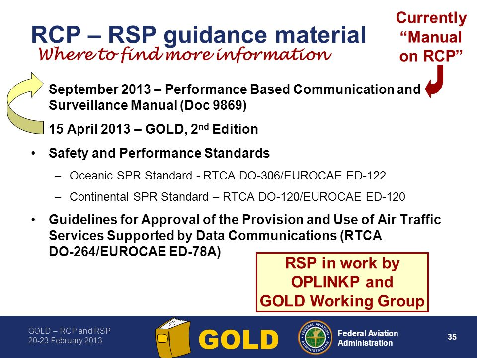 GOLD – RCP and RSP 20-23 February 2013 35 Federal Aviation Administration GOLD RCP – RSP guidance material September 2013 – Performance Based Communication and Surveillance Manual (Doc 9869) 15 April 2013 – GOLD, 2 nd Edition Safety and Performance Standards –Oceanic SPR Standard - RTCA DO 306/EUROCAE ED 122 –Continental SPR Standard – RTCA DO-120/EUROCAE ED-120 Guidelines for Approval of the Provision and Use of Air Traffic Services Supported by Data Communications (RTCA DO 264/EUROCAE ED 78A) RSP in work by OPLINKP and GOLD Working Group Where to find more information Currently Manual on RCP