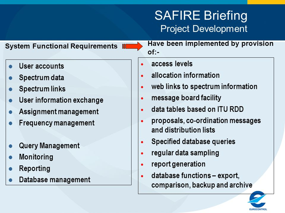SAFIRE Briefing Project Development System Functional Requirements User accounts Spectrum data Spectrum links User information exchange Assignment management Frequency management Query Management Monitoring Reporting Database management access levels allocation information web links to spectrum information message board facility data tables based on ITU RDD proposals, co-ordination messages and distribution lists Specified database queries regular data sampling report generation database functions – export, comparison, backup and archive Have been implemented by provision of:-
