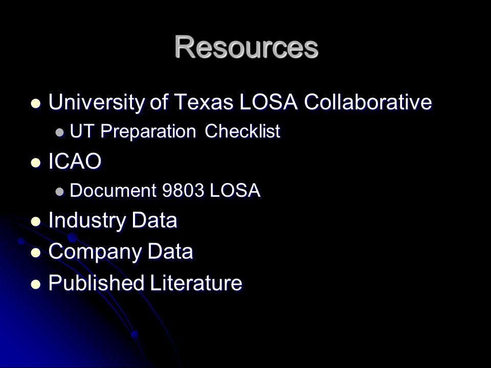 Resources University of Texas LOSA Collaborative University of Texas LOSA Collaborative UT Preparation Checklist UT Preparation Checklist ICAO ICAO Do