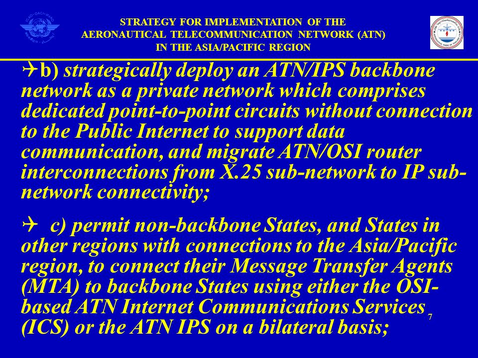 b) strategically deploy an ATN/IPS backbone network as a private network which comprises dedicated point-to-point circuits without connection to the P