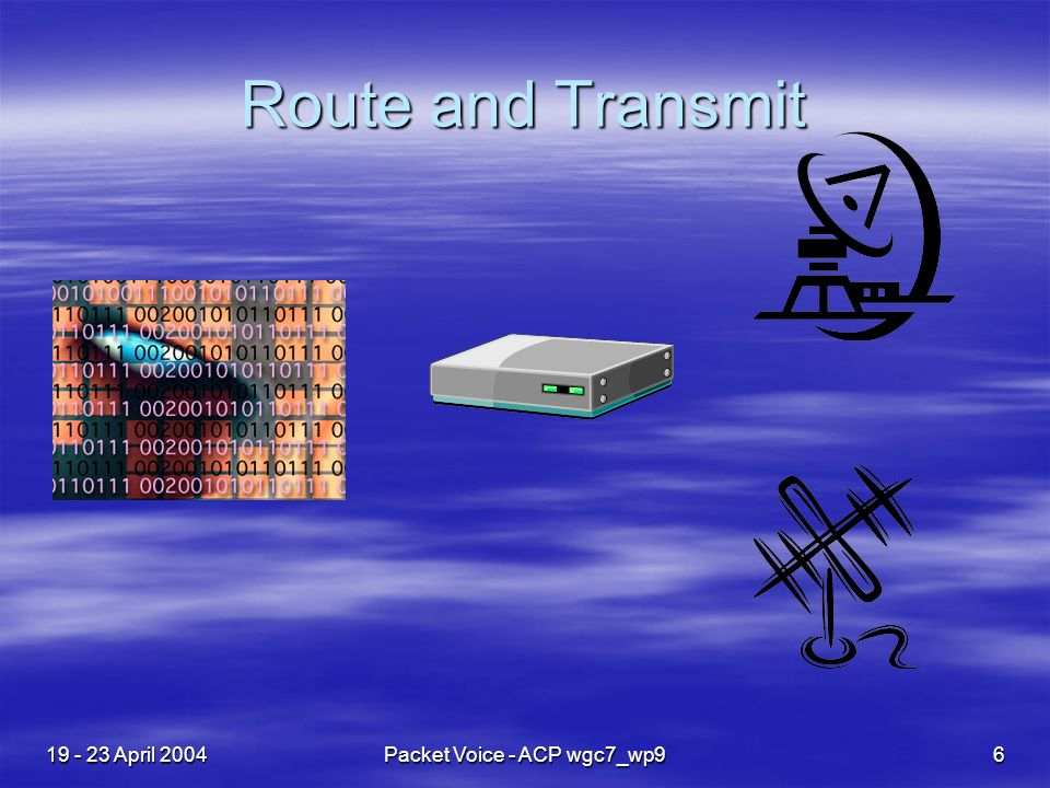19 - 23 April 2004Packet Voice - ACP wgc7_wp96 Route and Transmit