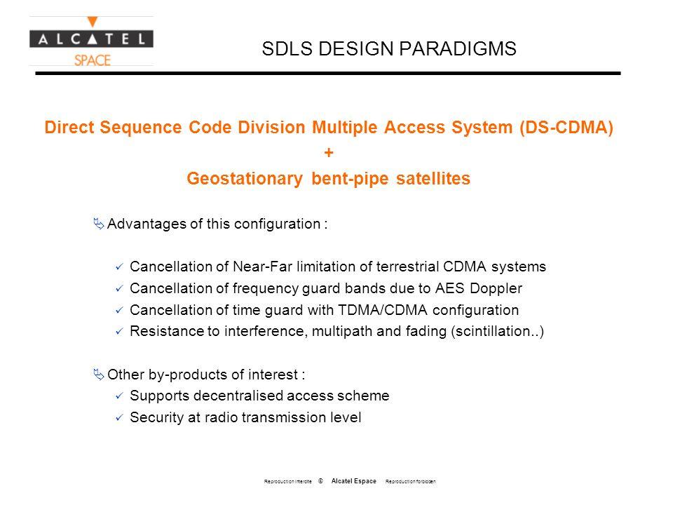 Reproduction interdite © Alcatel Espace Reproduction forbidden SDLS DESIGN PARADIGMS Direct Sequence Code Division Multiple Access System (DS-CDMA) +