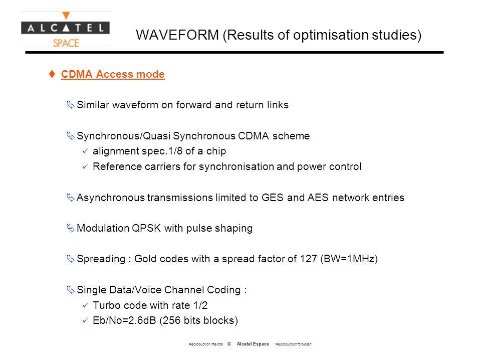 Reproduction interdite © Alcatel Espace Reproduction forbidden WAVEFORM (Results of optimisation studies) CDMA Access mode Similar waveform on forward