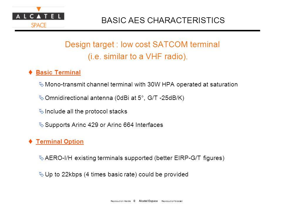 Reproduction interdite © Alcatel Espace Reproduction forbidden BASIC AES CHARACTERISTICS Design target : low cost SATCOM terminal (i.e. similar to a V