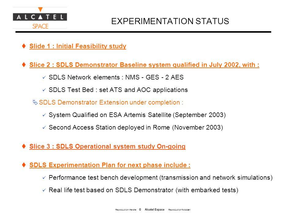 Reproduction interdite © Alcatel Espace Reproduction forbidden EXPERIMENTATION STATUS Slide 1 : Initial Feasibility study Slice 2 : SDLS Demonstrator