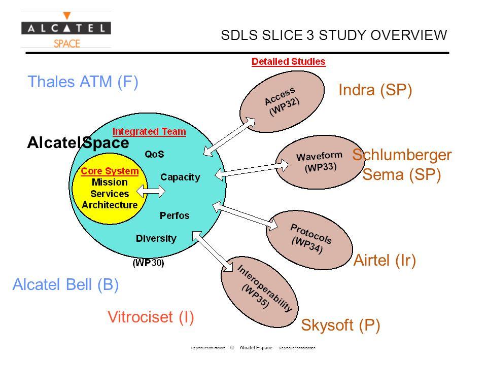 Reproduction interdite © Alcatel Espace Reproduction forbidden SDLS SLICE 3 STUDY OVERVIEW Indra (SP) Schlumberger Sema (SP) Airtel (Ir) Skysoft (P) V