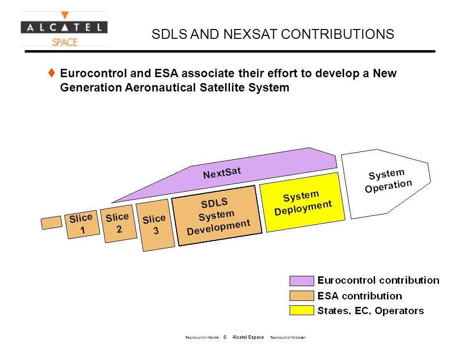 Reproduction interdite © Alcatel Espace Reproduction forbidden SDLS AND NEXSAT CONTRIBUTIONS Eurocontrol and ESA associate their effort to develop a N