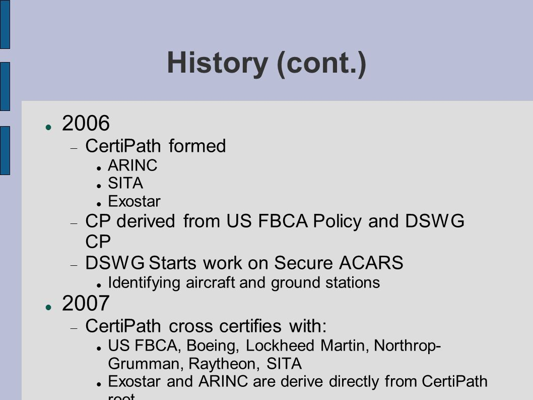 History (cont.) 2006 CertiPath formed ARINC SITA Exostar CP derived from US FBCA Policy and DSWG CP DSWG Starts work on Secure ACARS Identifying aircr
