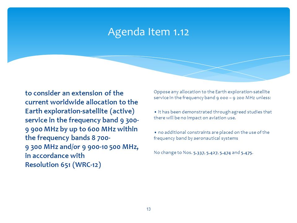 Agenda Item 1.12 to consider an extension of the current worldwide allocation to the Earth exploration-satellite (active) service in the frequency ban