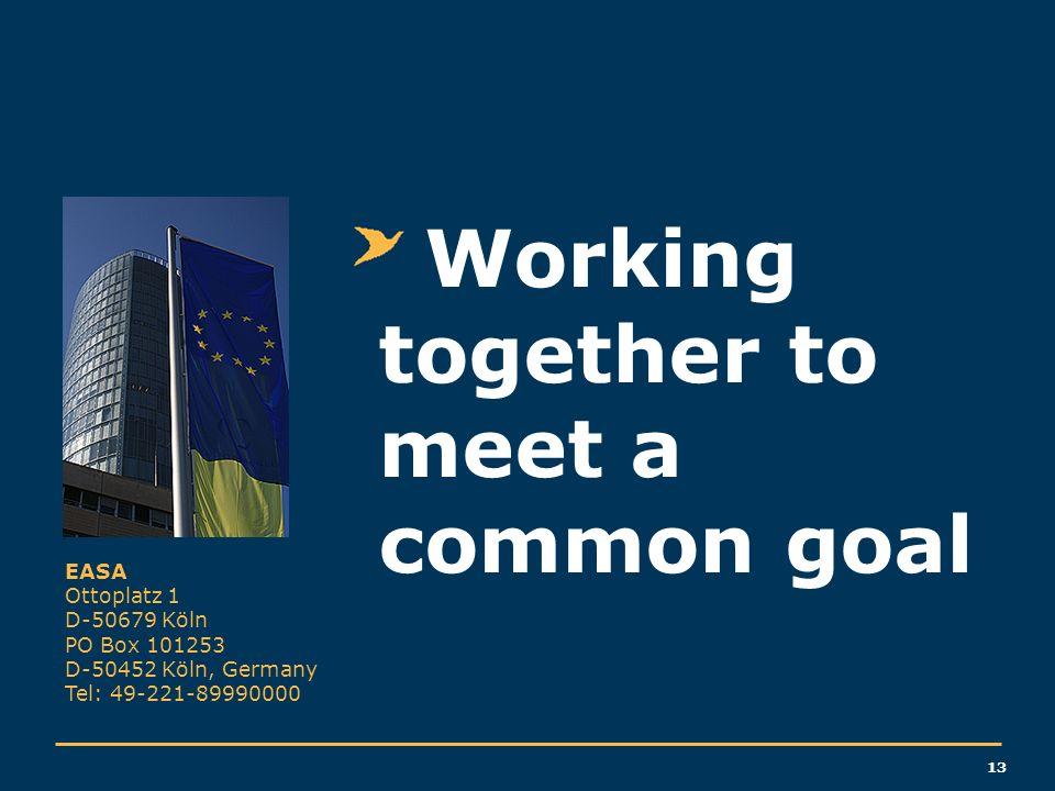 13 EASA Ottoplatz 1 D-50679 Köln PO Box 101253 D-50452 Köln, Germany Tel: 49-221-89990000 Working together to meet a common goal