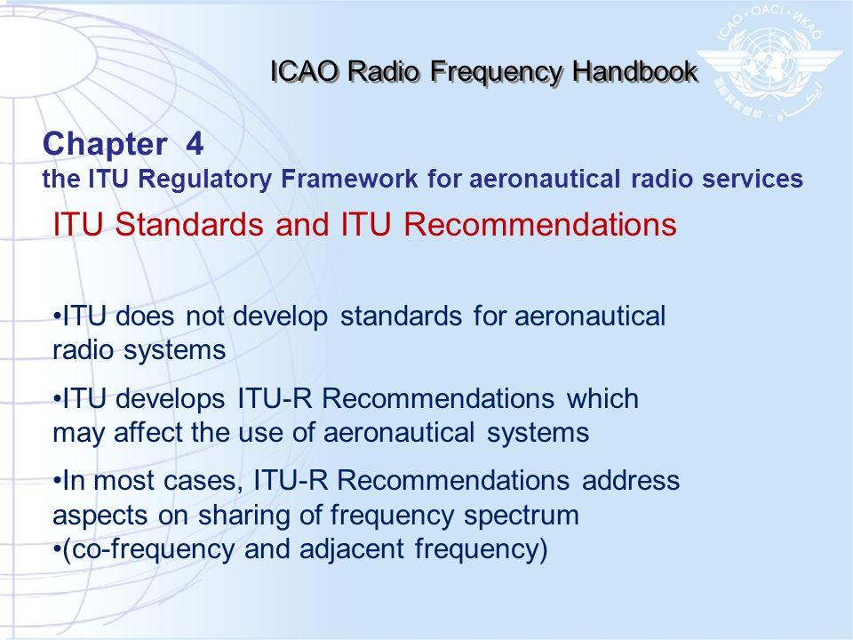 ITU Standards and ITU Recommendations ITU does not develop standards for aeronautical radio systems ITU develops ITU-R Recommendations which may affec