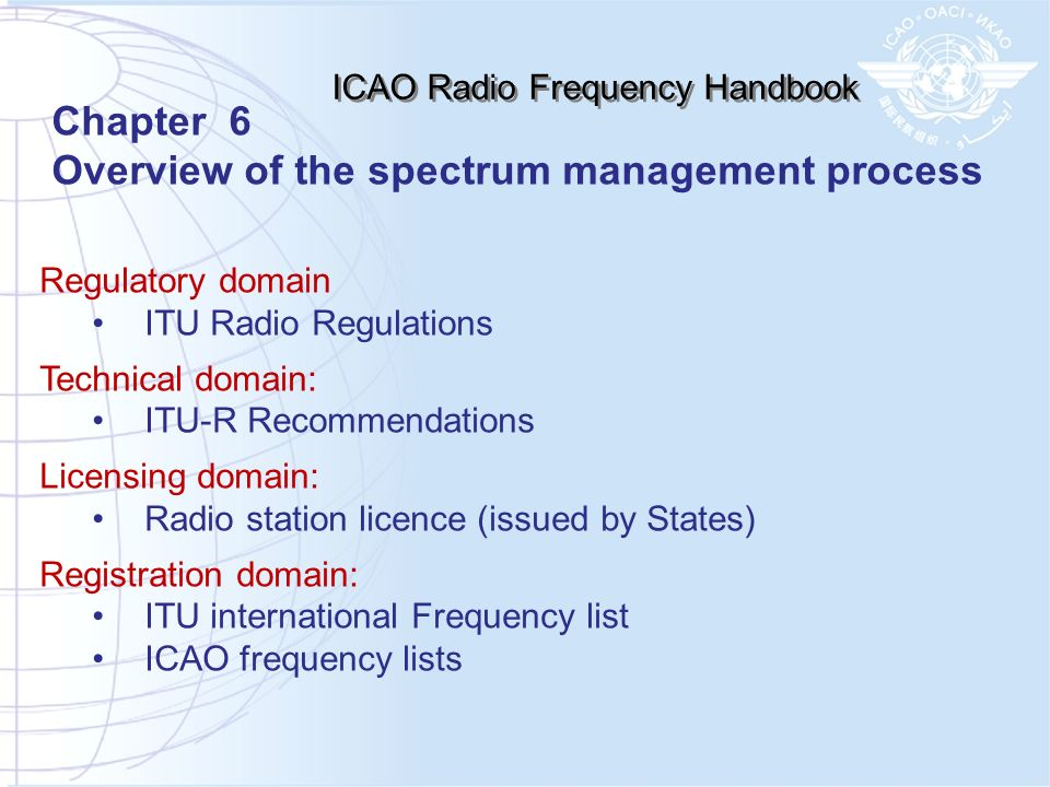 Regulatory domain ITU Radio Regulations Technical domain: ITU-R Recommendations Licensing domain: Radio station licence (issued by States) Registratio