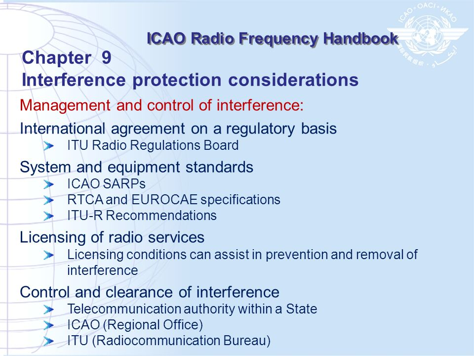Management and control of interference: International agreement on a regulatory basis ITU Radio Regulations Board System and equipment standards ICAO