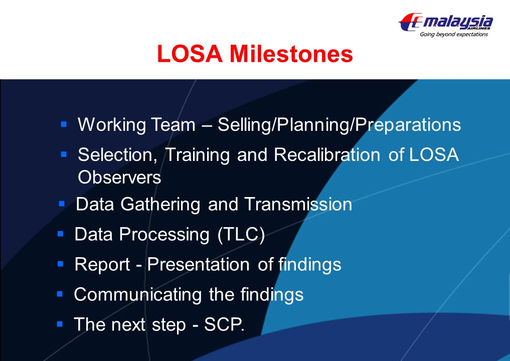 LOSA Milestones Working Team – Selling/Planning/Preparations Selection, Training and Recalibration of LOSA Observers Data Gathering and Transmission D