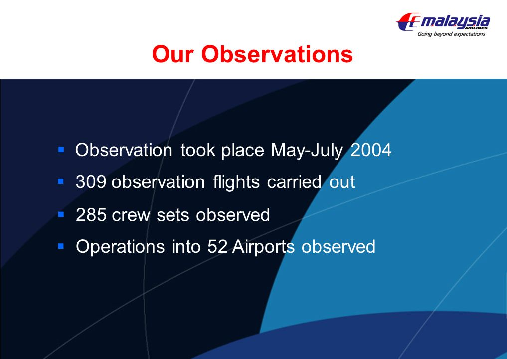 Our Observations Observation took place May-July 2004 Operations into 52 Airports observed 285 crew sets observed 309 observation flights carried out