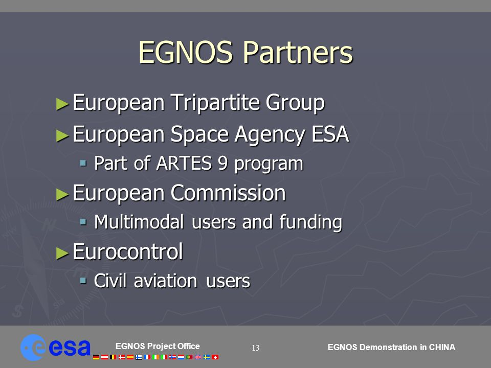 EGNOS Project Office EGNOS Demonstration in CHINA 13 EGNOS Partners European Tripartite Group European Tripartite Group European Space Agency ESA Euro