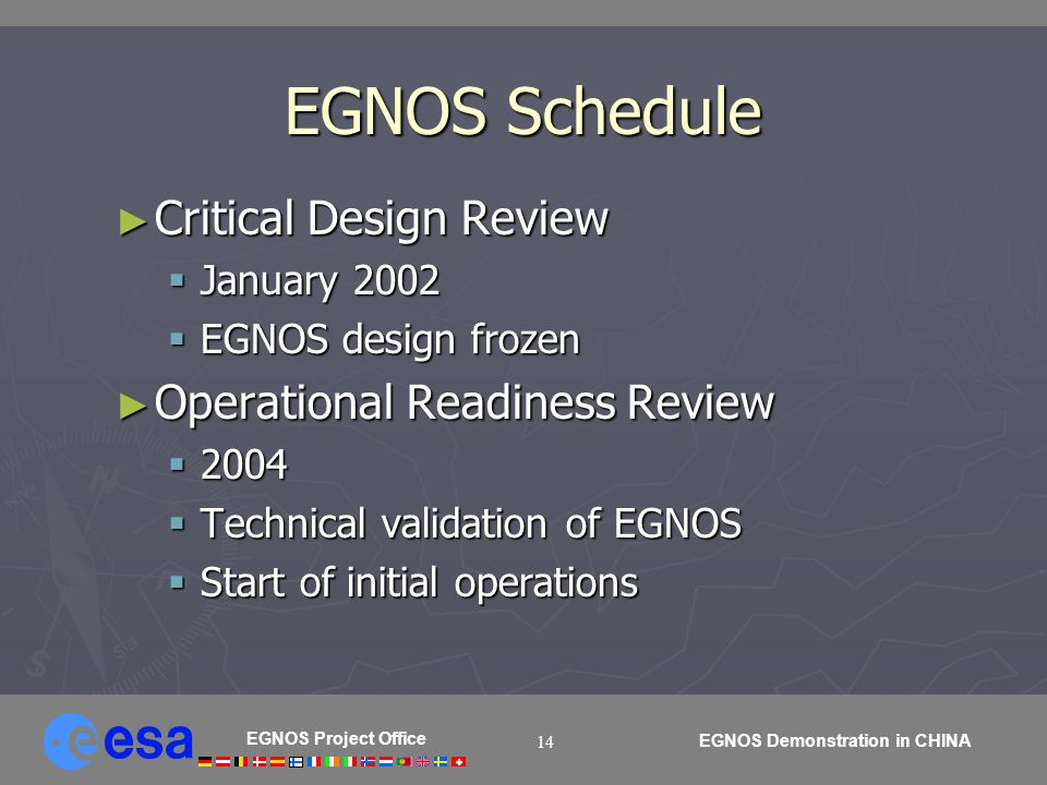 EGNOS Project Office EGNOS Demonstration in CHINA 14 EGNOS Schedule Critical Design Review Critical Design Review January 2002 January 2002 EGNOS desi