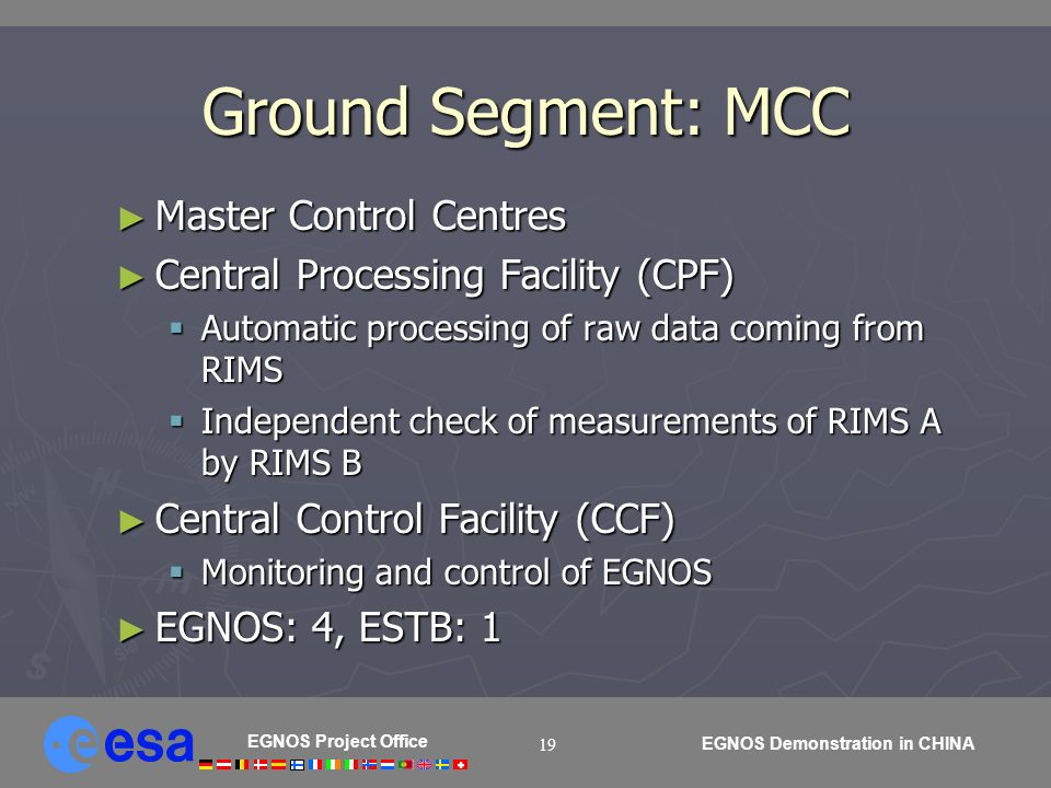 EGNOS Project Office EGNOS Demonstration in CHINA 19 Ground Segment: MCC Master Control Centres Master Control Centres Central Processing Facility (CPF) Central Processing Facility (CPF) Automatic processing of raw data coming from RIMS Automatic processing of raw data coming from RIMS Independent check of measurements of RIMS A by RIMS B Independent check of measurements of RIMS A by RIMS B Central Control Facility (CCF) Central Control Facility (CCF) Monitoring and control of EGNOS Monitoring and control of EGNOS EGNOS: 4, ESTB: 1 EGNOS: 4, ESTB: 1