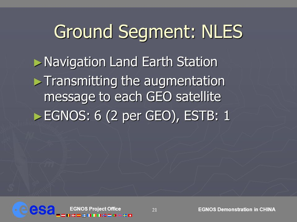 EGNOS Project Office EGNOS Demonstration in CHINA 21 Ground Segment: NLES Navigation Land Earth Station Navigation Land Earth Station Transmitting the augmentation message to each GEO satellite Transmitting the augmentation message to each GEO satellite EGNOS: 6 (2 per GEO), ESTB: 1 EGNOS: 6 (2 per GEO), ESTB: 1